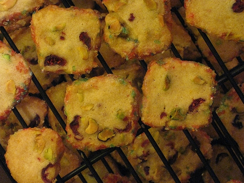 christmas cookie depot: pistachio cranberry icebox cookies - scratch