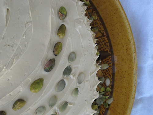 Pistachio cake with molasses buttercream