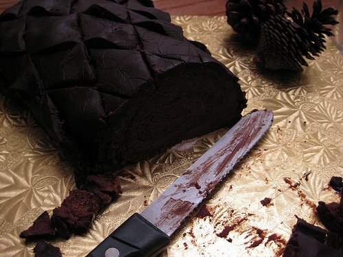 Sliced holiday pinecone cake