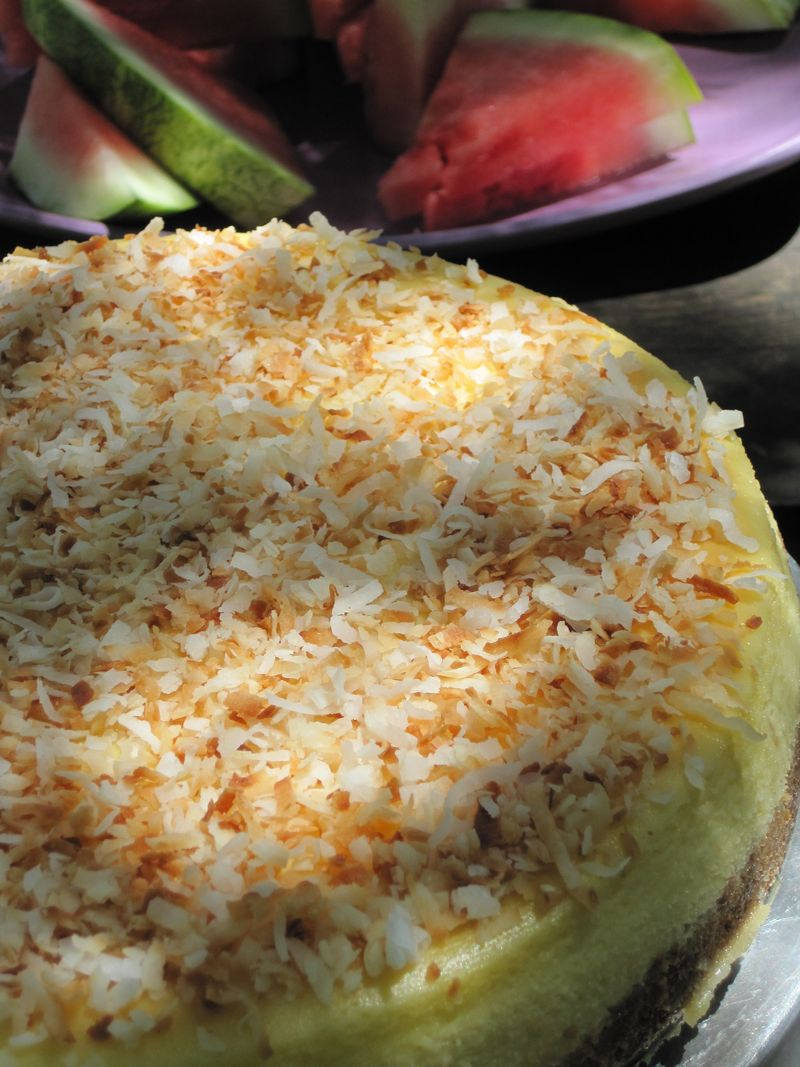 Coconut cheesecake served